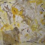 Mongolei  2001;  Mischtechnik/Collage auf Leinwand; 100x80 cm, Privatbesitz