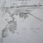 Weserarm am Bootshaus  2  2007;  Graphit auf Papier,  70x50 cm