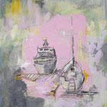 Boote  2009; Gouache/Collage auf Leinwand;  70x100 cm Privatbesitz