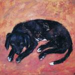 Sheila  2005;  Gouache auf Leinwand;  100x80 cm  Privatbesitz