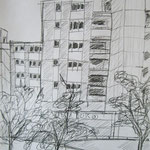 Magdeburger Viertel  2007;  Graphit auf Papier,  70x50 cm
