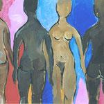 Die Badenden  2000;  Gouache auf Preßspanplatte;  ca. 80x60 cm