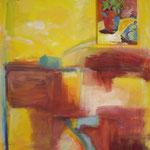Stilleben 4   2008;  Gouache/Collage  auf Leinwand; 70x100 cm Privatbesitz