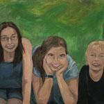 Alle Drei  2007;  Gouache auf Leinwand;  100x80 cm  Privatbesitz