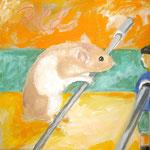 Hamster Poldi  2008; Gouache auf Leinwand;  40x40 cm  Privatbesitz