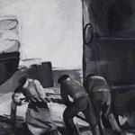 Hafenarbeiter 2  2008;  Gouache auf Leinwand;  50x50 cm  Privatbesitz