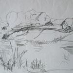 Weserarm am Bootshaus  3  2007;  Graphit auf Papier,  70x50 cm