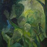 Osterspaziergang 2003;  Gouache auf Leinwand;  100x70 cm