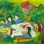 Gartenfest  2003;  Mischtechnik/Collage auf Papier;  100x70 cm