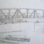Ueser Brücke 2007;  Graphit auf Papier,  70x50 cm