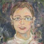 Töchter : Malin 2003;  Mischtechnik/Collage auf Leinwand;  50x50 cm, Privatbesitz