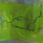 Stilleben 3  2008;  Gouache/Collage auf Leinwand;  100x30 cm