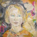 Töchter : Carlotta 2003;  Mischtechnik/Collage auf Leinwand;  50x50 cm, Privatbesitz
