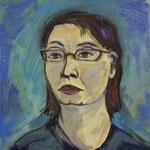 Selbstportrait 2008;  Gouache auf Leinwand;  40x40 cm.Privatbesitz