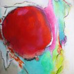 """Roter Mond""   100 cm x 100 cm   Acryl+Ölkreide   2015"
