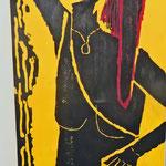 """""""Judith und Holofernes""""   Holzschnitt, 150 cm  x 50 cm,     mehrfarbig"""