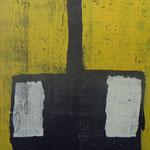 """""""Spatenmann, gelb, auf schwarz, grau""""     Holzschnitt, 150 x 50 cm,     mehrfarbig"""