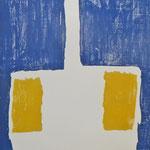 """Spatenmann, blau, weiß, gelb""    Holzschnitt, 150 cm x 50 cm,     mehrfarbig"
