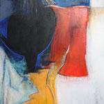 """""""Frau am Fenster""""   60 cm x 80 cm   Acryl+Kreide   2013"""