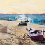 """Gestrandet""   Acryl-Sand, gespachtelt    114 cm x 74 cm"