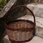 panier ovale avec clôture en crocane double   bicolore