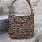 panier ovale avec pignons et anse alsacienne en osier brut