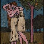8 Le couple sous le pommier (Adam et Eve ?), bois aquarellé.