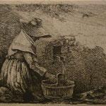 1. La femme agenouillée à la fontaine, 1er état, frontispice, 49 x 72 (cuivre 70 x 91).
