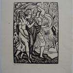 Bouquet, Les trois grâces ou l'écharpe, 21,8 x 15,9,  vers 1922.