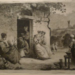 6.  Femmes devant la porte de la maison, état unique, 137 x 189 (cuivre  145 x 199).