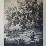 29  Femmes sur la route, l'une portant une cruche, cuivre 163 x 240.