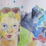O.T., 2014, Bleistift und Aquarell auf Papier, Skizzenbuch