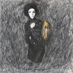 O.T., 2007, Bleistift auf Papier/ Modewerbung, 14,5 x 15 cm