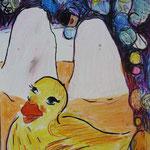 TAKING A BATH IS NOT ALWAYS THE BEST WAY TO RELAX, 2010, Bleistift, Buntstift, Aquarell auf Papier, 18 x 24 cm