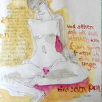 DICH TRINKEN, 2016, Auszug aus Skizzenbuch, Bleistift und Aquarell