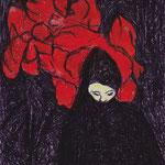 SCHLECHTE GEDANKEN, 2008, Kugelschreiber au Postkarte, 10 x 14 cm