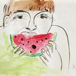 EIN SONNIGER TAG, 2010, Bleistift & Aquarell auf Papier, 18 x 14 cm