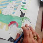 COLLAGE IN ARBEIT, 2017, Aquarell, Bleistift, Buntstift auf Papier