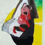JETZT BIN ICH HIER, 2011, Monotypie, Collage, Öl- und Wasserfarbe,  21 x 27 cm