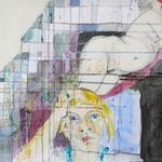 ROTWEINNASE ODER UNENDLICH MÜDE, 2017, Aquarell, Rotwein, Espresso, Bleistift auf Papier 50 x 60 cm