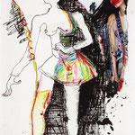 DESIGUAL, 2009, Tusche, Buntstift & Zeitschriftausschnitt auf Papier, 18 x 24 cm