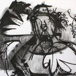 O.T., 2008, Kohle auf Karton, 56 x 45,5 cm