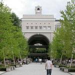 吉田南プロムナード: 吉田南構内の広場です。総合人間学部の学部棟が見えます。天気の良い日には、ここで読書したり談笑したりする人をちらほらと見かけます。お昼時にはお弁当を食べる人で賑わい、京大の憩いの場所の一つになっています。