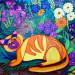 2020 Gelbe Katze auf Blumenwiese (Ölkreide 40 x 50 cm)