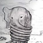 Elefant fühlt sich gebunden