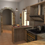 cucina e cappa professionali affiancate da un banco per colazione e poggiavivande