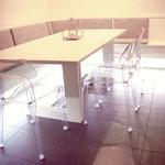 tavolo e panca larice spazzolato laccato