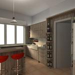 lato lavello con dettaglio dei portabottiglie e boiserie a cornice del frigor