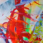 ABSTRAKT Lack, Acryl, Marker auf Leinen, 100 x 150 cm