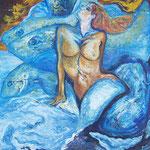 akt+fische, Öl auf Leinwand 60 x 80 cm